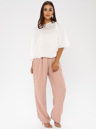 Pink - Cotton - Plus Size Pants