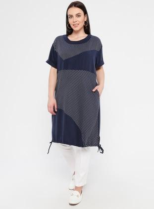 Navy Blue - Stripe - Unlined - Crew neck - Viscose - Plus Size Dress