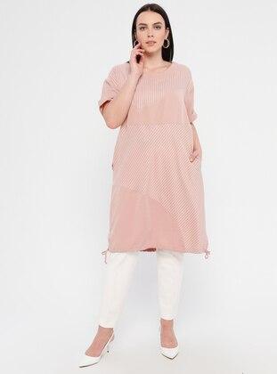 Powder - Stripe - Unlined - Crew neck - Viscose - Plus Size Dress