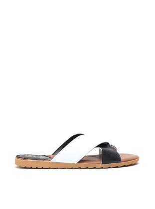 Black - White - Sandal - Slippers