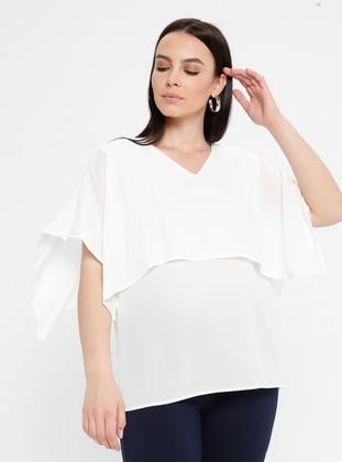 White - Ecru - V neck Collar - Plus Size Blouse