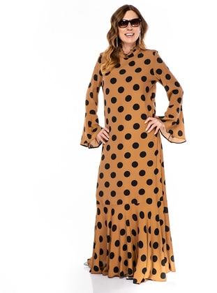 Tan - Polka Dot - Unlined - Polo neck - Plus Size Dress