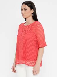Coral - Crew neck - Plus Size Blouse