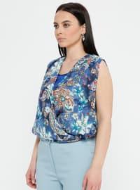 Blue - Saxe - Floral - Crew neck - Plus Size Blouse