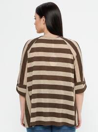 Brown - Stripe - Crew neck - Plus Size Blouse
