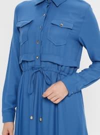 Blue - Indigo - Point Collar - Unlined - Dress