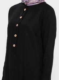 Black - Button Collar - Viscose - Tunic