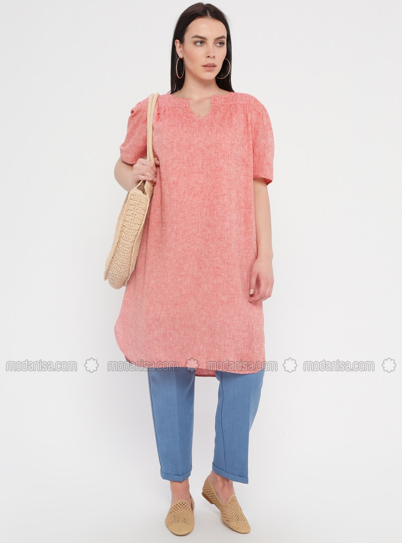 Coral - Fully Lined - V neck Collar - Cotton - Plus Size Dress
