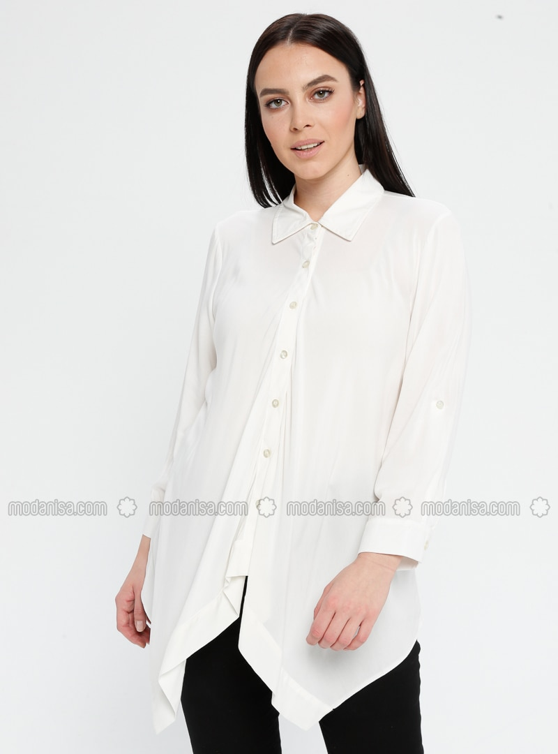 Ecru - Point Collar - Plus Size Blouse