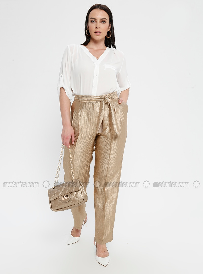 Gold - Viscose - Plus Size Pants