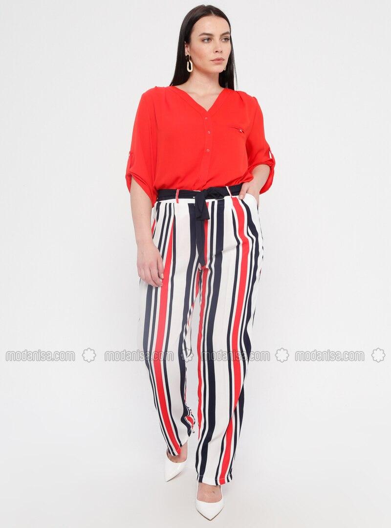 173c36d512b5fb Navy Blue - Stripe - Viscose - Plus Size Pants. Fotoğrafı büyütmek için  tıklayın