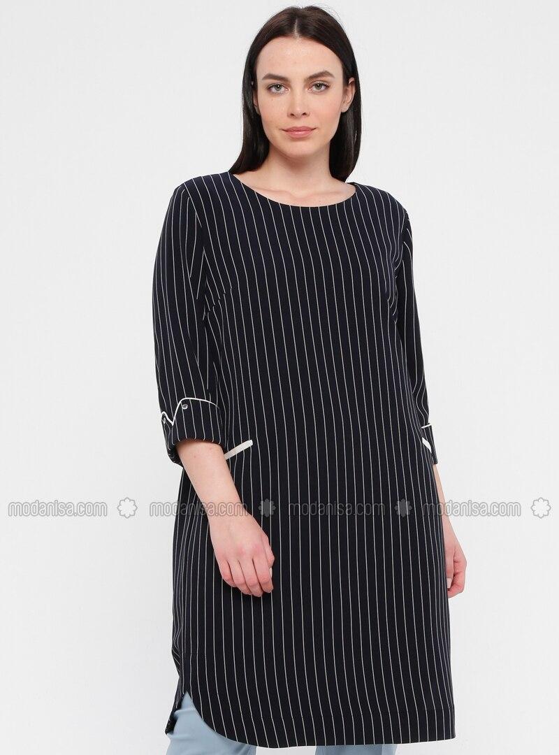Navy Blue - Stripe - Fully Lined - Crew neck - Plus Size Dress