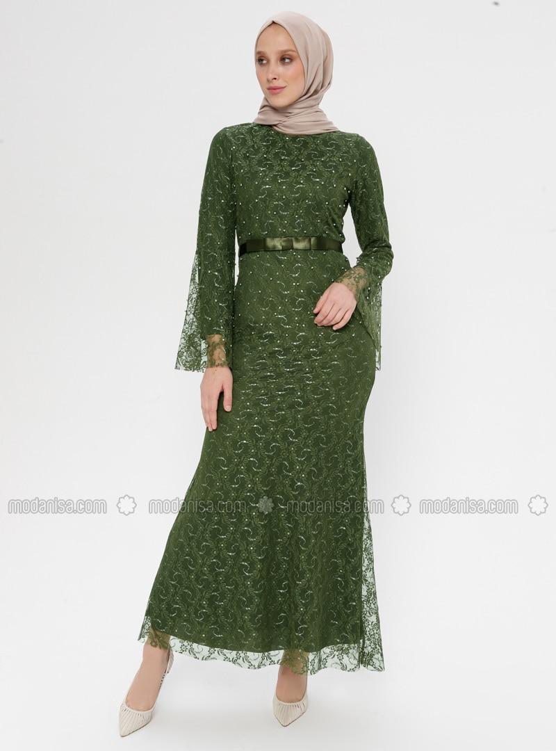 Khaki - Multi - Fully Lined - Crew neck - Muslim Evening Dress