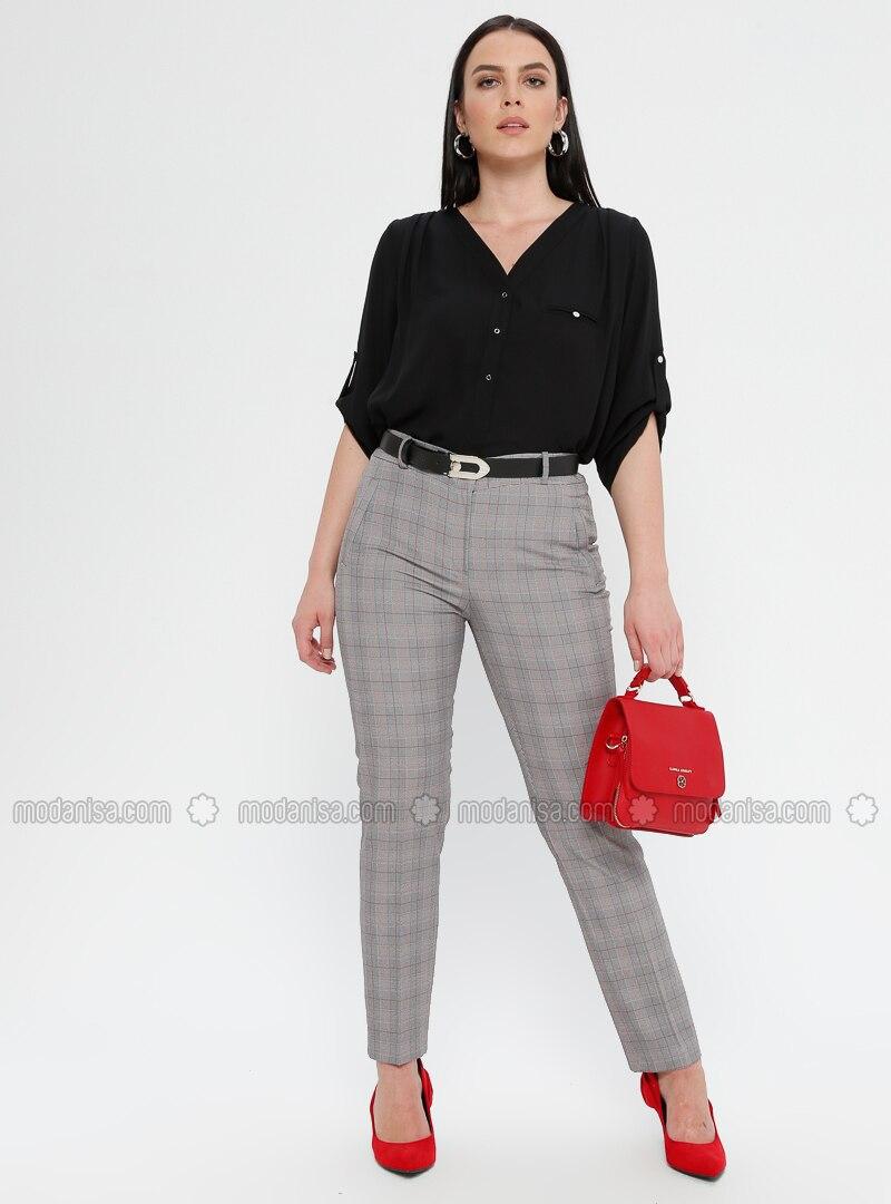 Red - Plaid - Viscose - Plus Size Pants