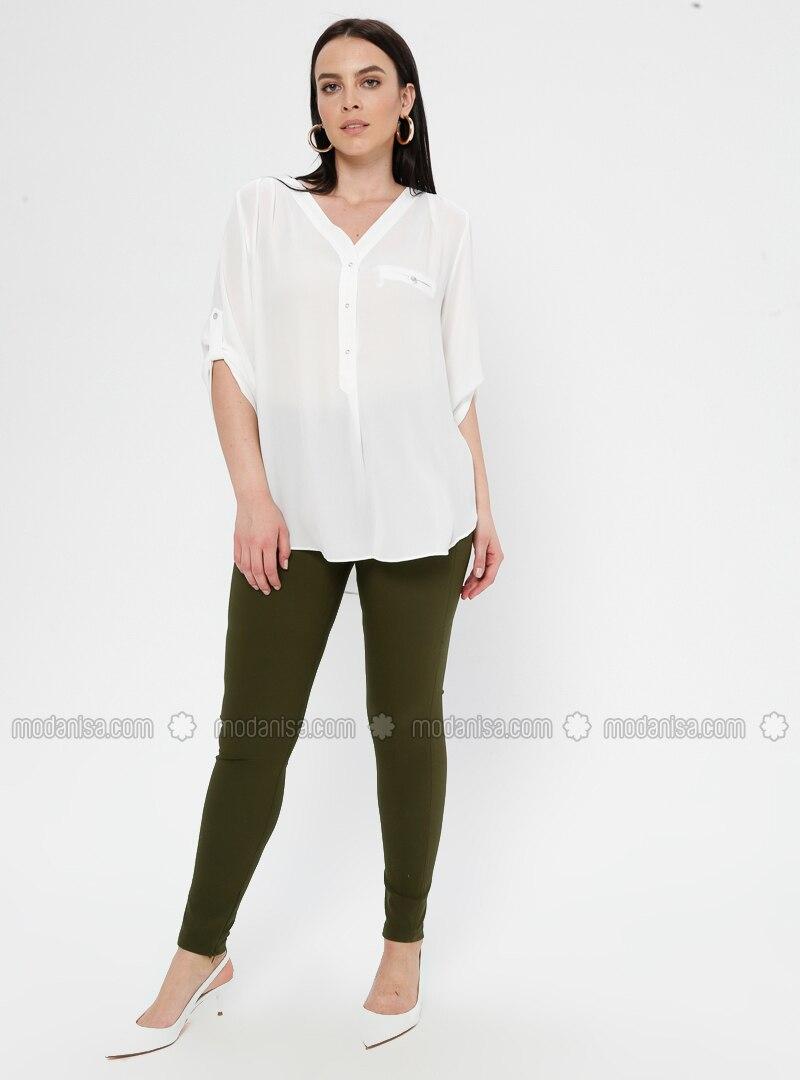 Khaki - Nylon - Plus Size Pants