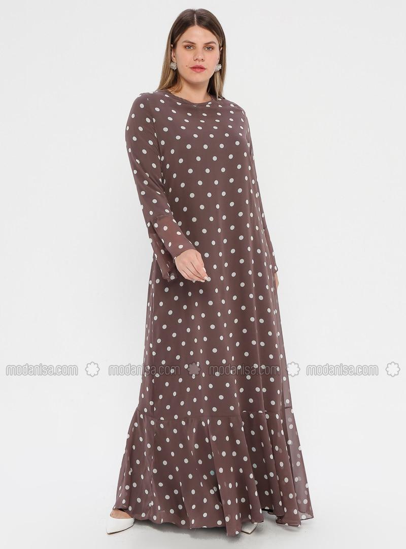 Mink - Polka Dot - Fully Lined - Crew neck - Plus Size Dress