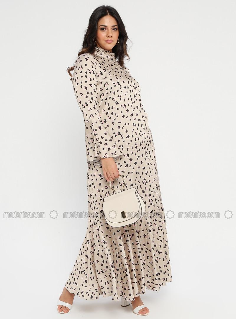 Gold - Multi - Unlined - Polo neck - Plus Size Dress