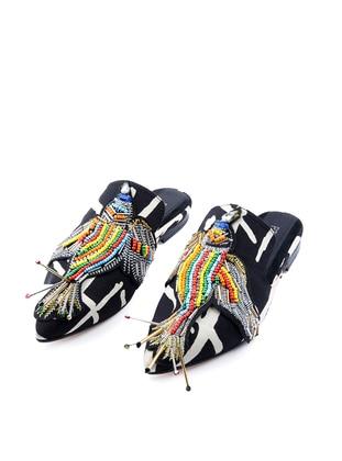 Handmade Black - Gray - Sandal - Slippers