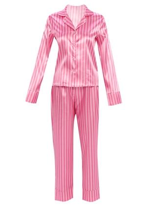 Fuchsia - Shawl Collar - Stripe - Pyjama