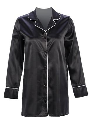 Black - Shawl Collar - Nightdress