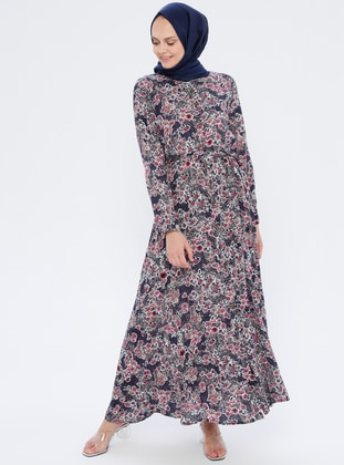 Plum - Floral - Point Collar - Unlined - Viscose - Dress
