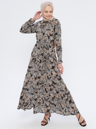 Mink - Floral - Point Collar - Unlined - Viscose - Dress