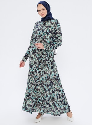 Green - Floral - Point Collar - Unlined - Viscose - Dress