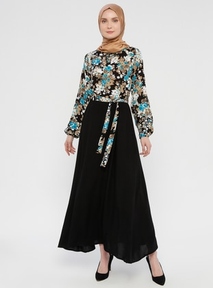 Mint - Floral - Crew neck - Unlined - Viscose - Dress