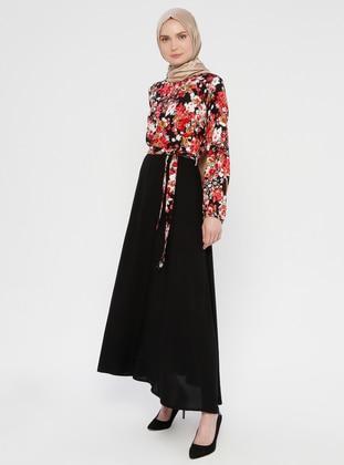 Pink - Floral - Crew neck - Unlined - Viscose - Dress