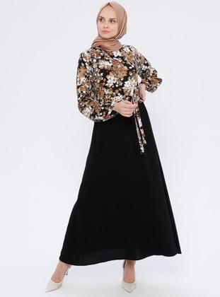Mink - Floral - Crew neck - Unlined - Viscose - Dress
