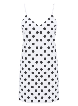 White - Polka Dot - V neck Collar - Nightdress