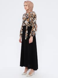 Mink - Floral - Crew neck - Unlined - Viscose - Dress