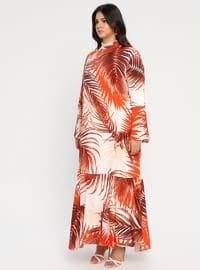 White - Ecru - Terra Cotta - Multi - Unlined - Polo neck - Plus Size Dress