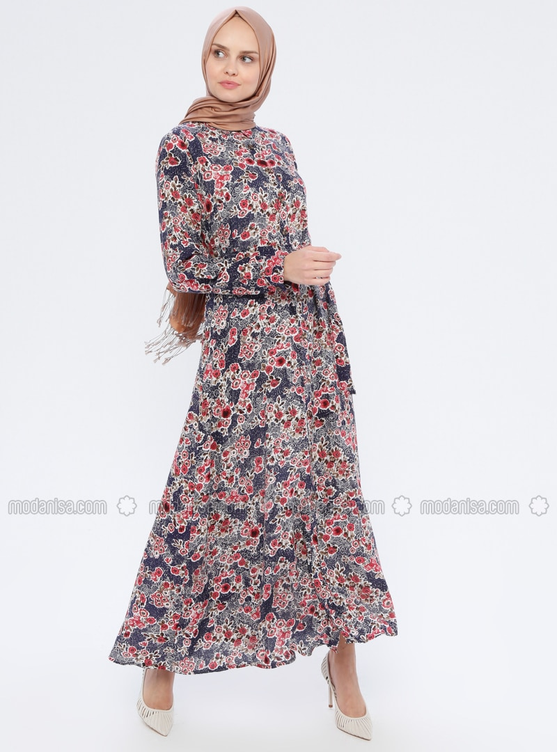 Red - Floral - Point Collar - Unlined - Viscose - Dress