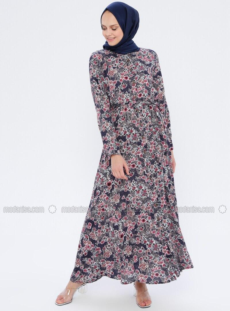 Plum - Floral - Point Collar - Unlined - Viscose - Dress