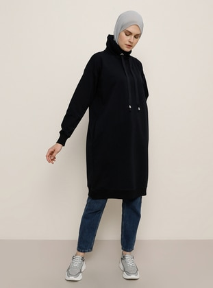 Navy Blue - Polo neck -  - Tunic
