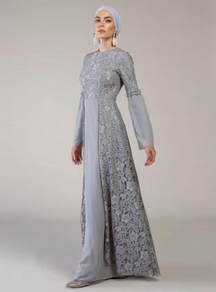 Gray - Unlined - Crew neck - Muslim Evening Dress