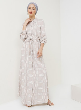 Beige - Multi - Point Collar - Unlined - Viscose - Dress