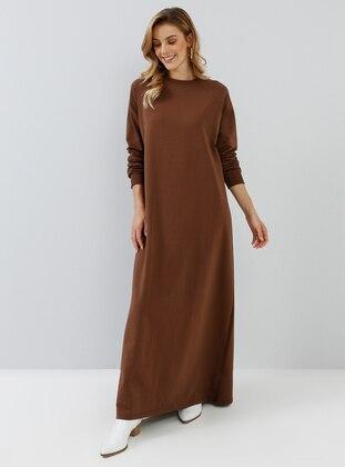 Brown - Crew neck - Unlined - Dress
