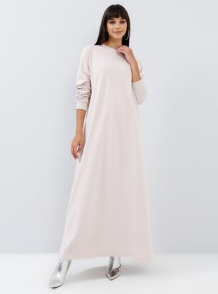White - Crew neck - Unlined -  - Dress