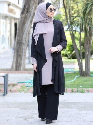 Black - Fully Lined - Chiffon - Suit
