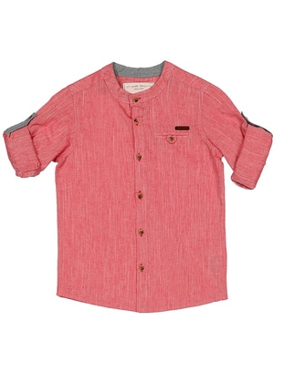 Crew neck - Cotton - Maroon - Boys` Shirt