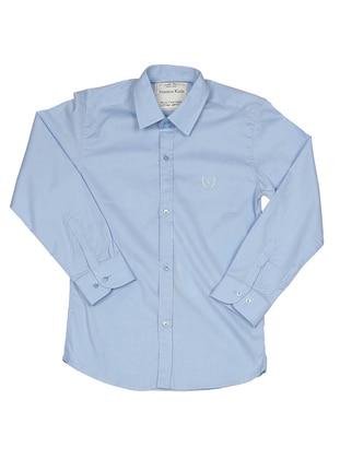 Point Collar - Cotton - Unlined - Blue - Boys` Shirt