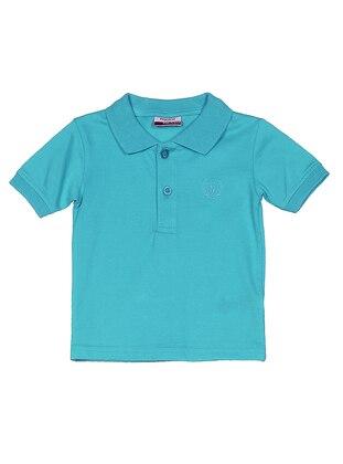 Stripe - Polo - Cotton - Turquoise - Boys` T-Shirt