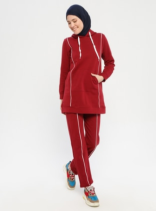 Maroon - Combed Cotton - Tracksuit Set