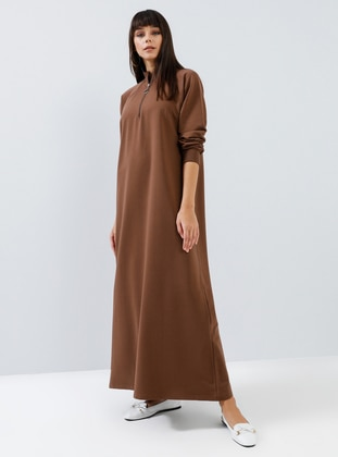 Brown - Polo neck - Unlined -  - Dress