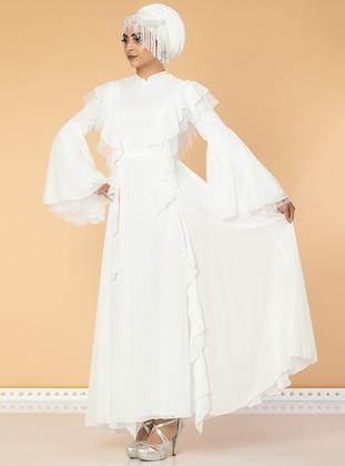 White - Fully Lined - Crew neck - Chiffon - Muslim Evening Dress