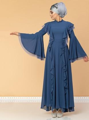 Indigo - Fully Lined - Crew neck - Chiffon - Muslim Evening Dress