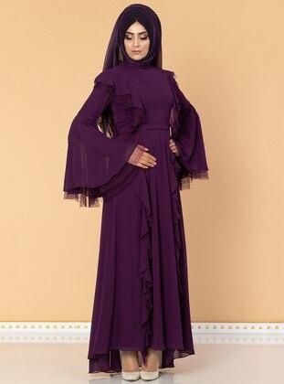 Purple - Fully Lined - Crew neck - Chiffon - Muslim Evening Dress