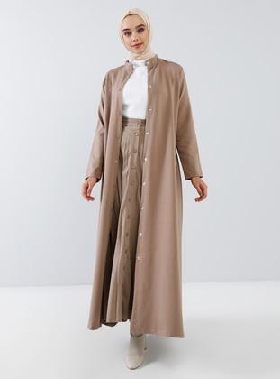 Mink - Unlined - Polo neck -  - Topcoat - Everyday Basic